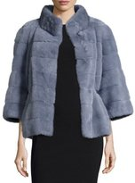 Norman Ambrose Horizontal Mink-Fur Jacket, Dove Gray