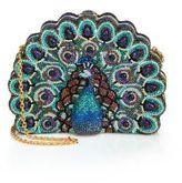 Judith Leiber Swarovski Crystal & Sodalite Peacock Clutch