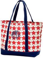 Princess Linens Navy & Red Star Monogram Beach Tote Bag