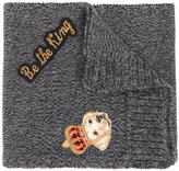 Dolce & Gabbana Be the King puppy patch scarf - kids - Virgin Wool - One Size