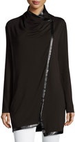 Neiman Marcus Draped Faux-Leather Trim Cardigan, Black