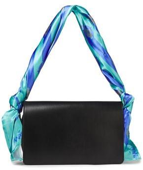 Maison Margiela Knotted Printed Satin-trimmed Leather Shoulder Bag