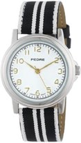 Pedre Women's 0231SX Black/ White Striped Grosgrain Strap Silver-Tone Watch