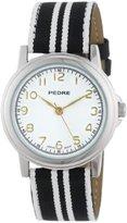 Pedre Women's 0231SX Black/ White Striped Grosgrain Strap Silver-Tone Watch