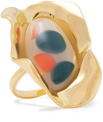 EJING ZHANG Effie 18-karat Gold-plated Resin Ring