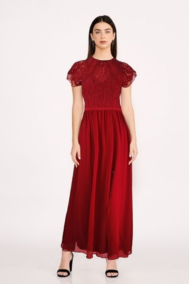 Little Mistress Bridesmaid Sonja Red Lace Maxi Dress
