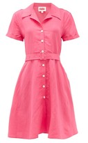 Solid & Striped Tourist Belted Linen-blend Shirtdress - Womens - Pink
