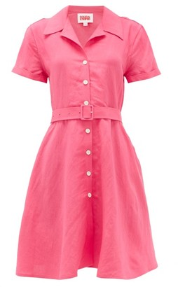 Solid & Striped Tourist Belted Linen-blend Shirt Dress - Pink