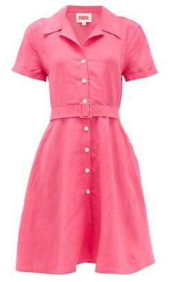 Solid & Striped Tourist Belted Linen-blend Shirt Dress - Womens - Pink