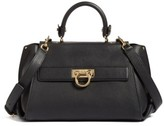Salvatore Ferragamo Medium Pebbled Leather Satchel - Black