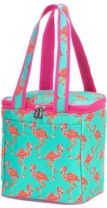Flamingos Viv&Lou Women's Totebags - Aqua & Pink Monogram Cooler Tote