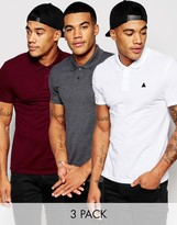 Asos Muscle Logo Pique Polo 3 Pack Charcoal/ White/ Burgundy