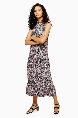 Topshop Womens Floral Sleeveless Dress - Monochrome
