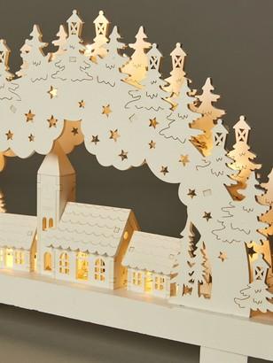 White Wood Lit Candle Bridge Scene Christmas Decoration