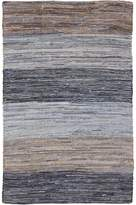 Diva At Home 8' x 11' Simply Striped Blue, Beige, and Mocha Reversible Hand Woven Recycled Denim Throw Rug