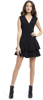 Alice + Olivia Palmira V Neck Ruffle Dress