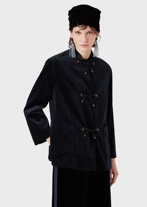 Giorgio Armani Velvet Pea Coat With Mandarin Collar