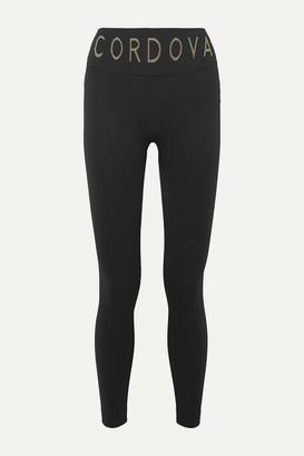Cordova Signature Ribbed Intarsia Stretch-knit Leggings - Black