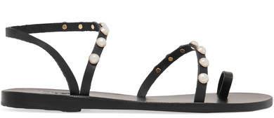 Ancient Greek Sandals Apli Eleftheria Faux Pearl-embellished Leather Sandals - Black