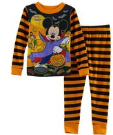 Disney Disney's Mickey Mouse Toddler Boy Striped Halloween Glow in the Dark Top & Pants Pajama Set