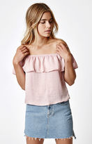 La Hearts Silk Ruffle Off-The-Shoulder Top