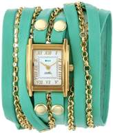 La Mer Women's LMCLIFTON002 Mint Gold Clifton Square Case White Dial 14k Gold-Plated Jewelry Chains Watch