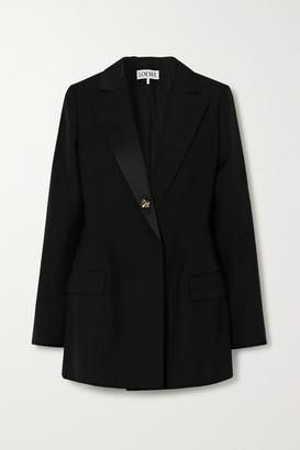 Loewe Satin-trimmed Wool Blazer - Black