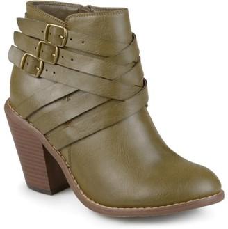 Brinley Co. Women's Ankle Wide Width Multi Strap Boots