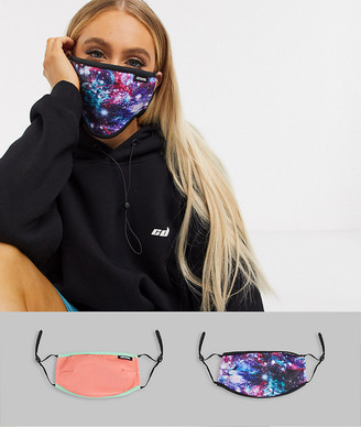 Hype Exclusive 2 pack face covering with adjustable straps in mixed print