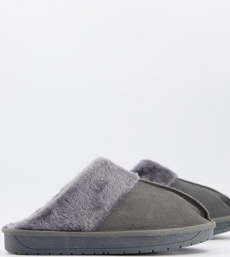 Simply Be wide fit mule slippers in gray