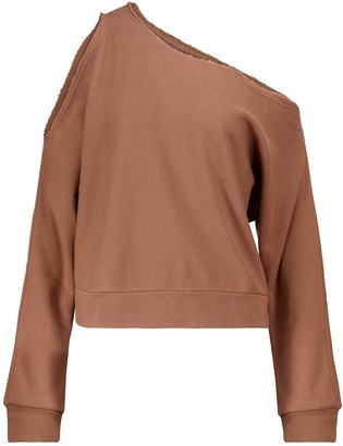 Lanston One-shoulder cotton-blend sweatshirt