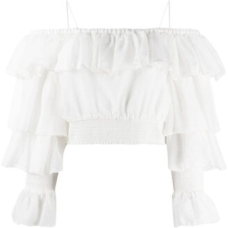 Alice + Olivia Mandara ruffle crop top