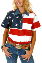 Roper Red American Flag Short-Sleeve Button-Up - Plus Too