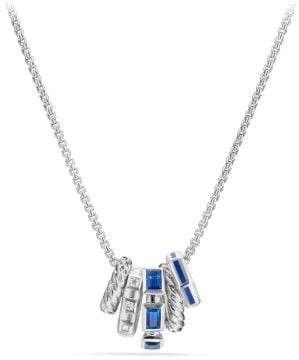 David Yurman Stax Pendant Necklace With Sapphires, Blue Enamel And