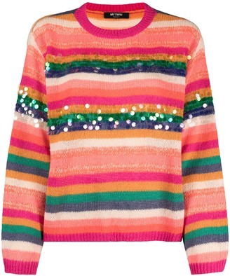 Twin-Set Stripe-Print Sequin Knitted Jumper