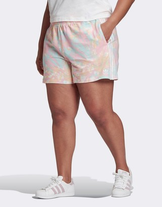 adidas three stripe shorts in pink tie dye