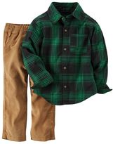 Carter's Toddler Boy Plaid Flannel Button-Front Shirt & Corduroy Pant Set