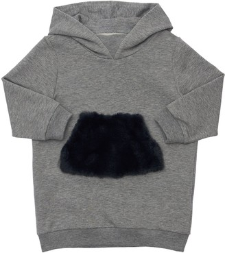 Il Gufo Hooded Cotton Sweat Dress W/Faux Fur