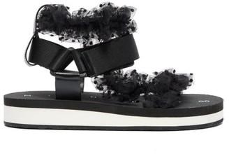 Midnight 00 Polka Dot Tulle Strap Sandals - Womens - Black