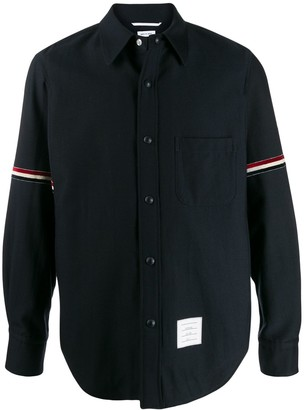 Thom Browne Wool Cotton Suiting Snap Front Shirt Jacket