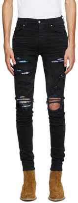 Amiri Black Hawaiian Patch Jeans