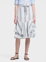 DKNY Striped Linen Ruffle-tiered Skirt With Waist Tie