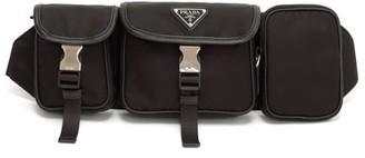 Prada Logo-plaque Leather-trimmed Nylon Belt Bag - Black