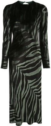 Mason by Michelle Mason Zebra Print Midi Dress