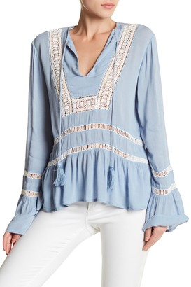 Willow & Clay Woven Bell Sleeve Crochet Blouse