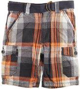 Smiths American Smith's American Little Boys Plaid Huntington Cargo Shorts with Belt, Grey