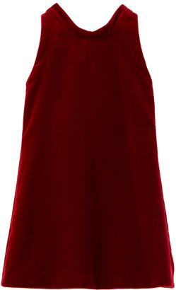 Oscar de la Renta Velvet Bow Back Silk-Lined Dress