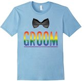 Men's Bachelor Party Shirt Gay Pride Rainbow Groom Bow Tie Small
