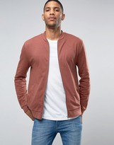 Asos Jersey Bomber Jacket In Red