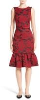 Oscar de la Renta Women's Floral Fil Coupe Dress